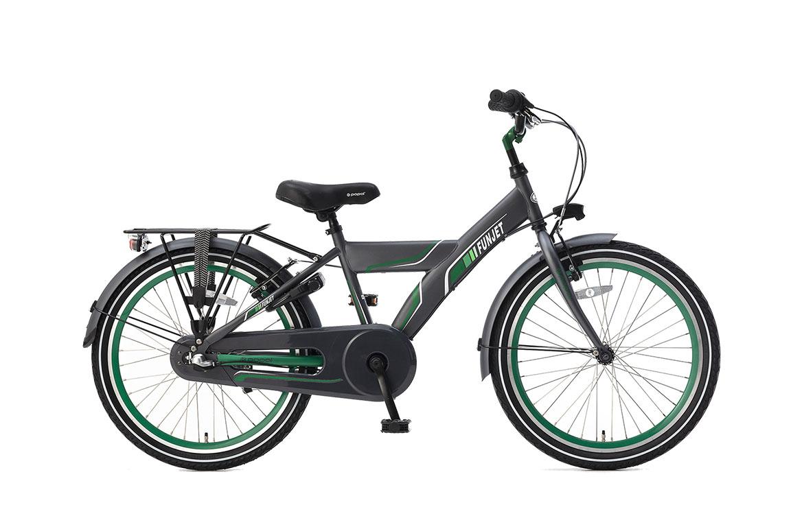 Popal Funjet N3 22 inch jongensfiets in doos verpakking – grijs/groen