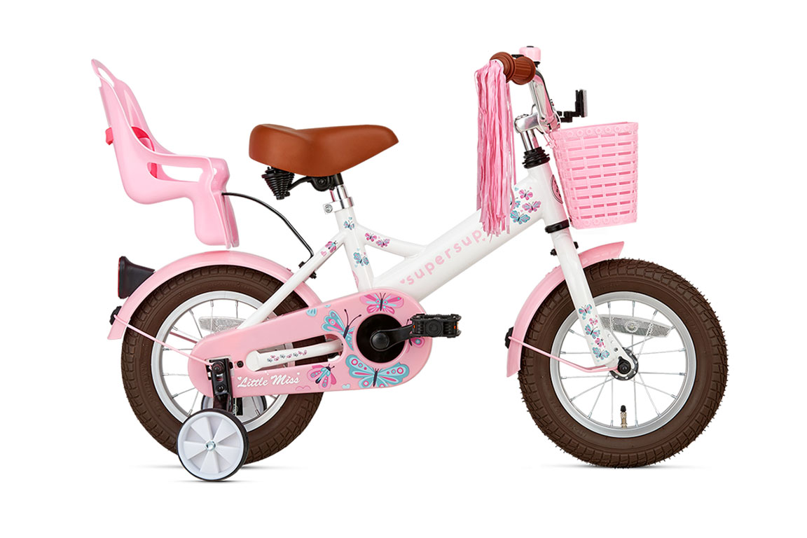 Little Miss 14 inch meisjesfiets in doos verpakking – wit